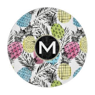 Pineapple Grunge Palms | Monogram Cutting Board