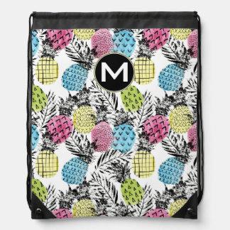 Pineapple Grunge Palms | Monogram Drawstring Bag