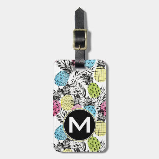 Pineapple Grunge Palms | Monogram Luggage Tag