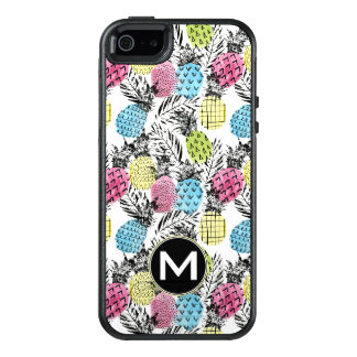 Pineapple Grunge Palms | Monogram OtterBox iPhone 5/5s/SE Case