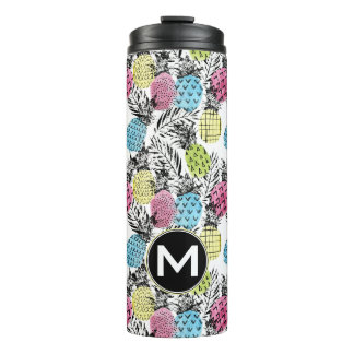 Pineapple Grunge Palms | Monogram Thermal Tumbler