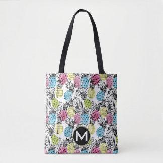 Pineapple Grunge Palms | Monogram Tote Bag