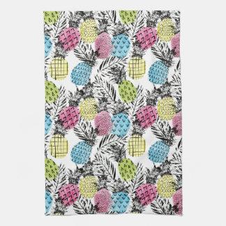 Pineapple Grunge Palms Tea Towel