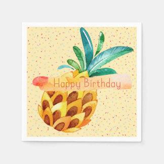 Pineapple Happy Birthday Paper Napkin