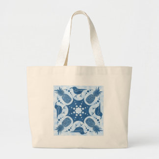 Pineapple & Iiwi Hawaiian Quilt Large Tote Bag