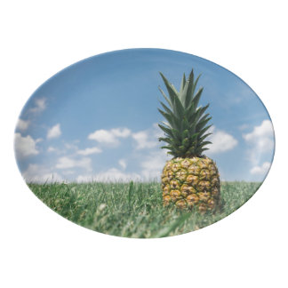 Pineapple in a Field Porcelain Serving Platter