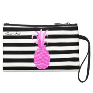 Pineapple in Hot Pink w/ Stripes & Pink Dots Wristlets