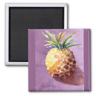 Pineapple in Purple in Watercolor Magnets