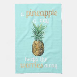 Pineapple Life Quote Tea Towel