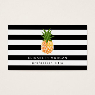 Pineapple Logo Black White Stripes Elegant Look Business Card