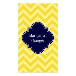 Pineapple Lt Yellow LG Chevron Navy Name Monogram Pack Of Standard Business Cards
