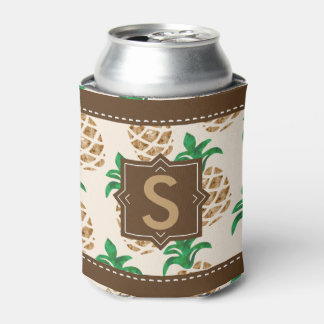 Pineapple Luau Party Monogram | Personalized Can Cooler
