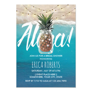 Pineapple Mason Jar Aloha Beach Bridal Shower Card