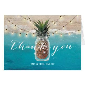 Pineapple Mason Jar Beach Wedding Thank You Card