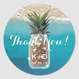 Pineapple Mason Jar Beach Wedding Thank You Classic Round Sticker