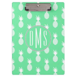 Pineapple Mint Pattern   Monogram Clipboard