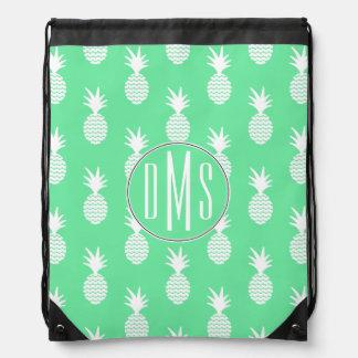 Pineapple Mint Pattern | Monogram Drawstring Bag