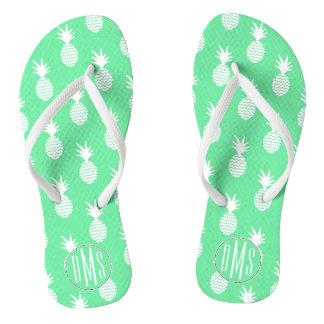 Pineapple Mint Pattern | Monogram Flip Flops