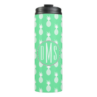 Pineapple Mint Pattern | Monogram Thermal Tumbler