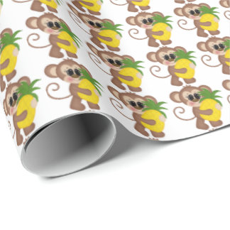 Pineapple monkey tiled wrapping paper