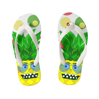 pineapple monster illustration flip flops