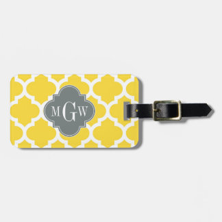 Pineapple Moroccan #5 Charcoal 3 Initial Monogram Luggage Tag