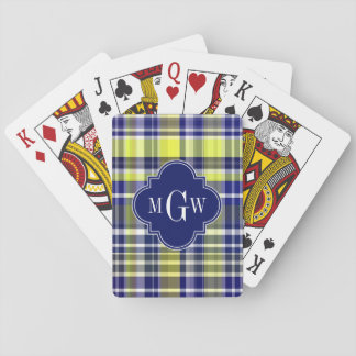 Pineapple Navy Blue White Preppy Madras Monogram Poker Deck