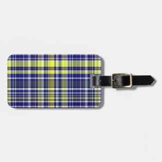 Pineapple Navy Blue White Preppy Madras Plaid Luggage Tag