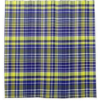 Pineapple Navy Blue White Preppy Madras Plaid Shower Curtain