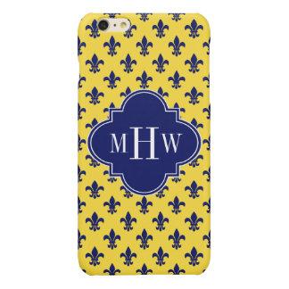 Pineapple Navy  Fleur de Lis Navy 3 Init Monogram iPhone 6 Plus Case