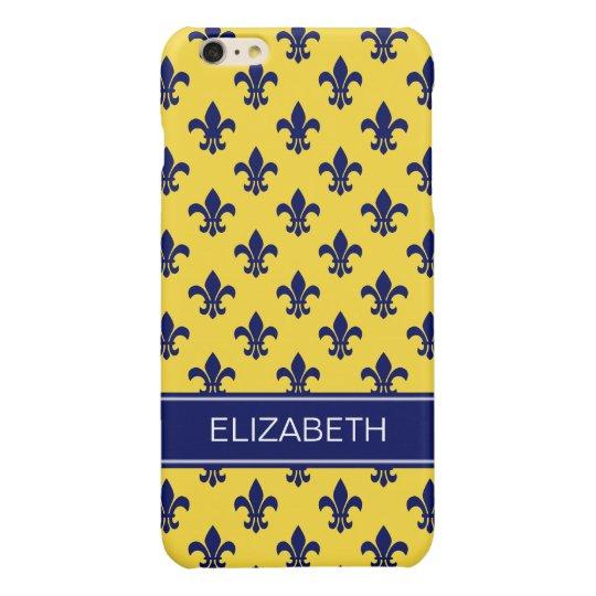 Pineapple Navy Fleur de Lis Navy Name Monogram iPhone 6 Plus Case