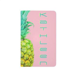 Pineapple Neon Pink Green Custom Pocket Journal