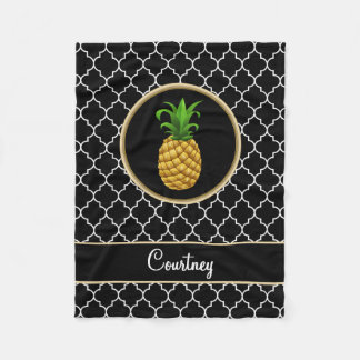 Pineapple on Black White Quatrefoil with Name Fleece Blanket