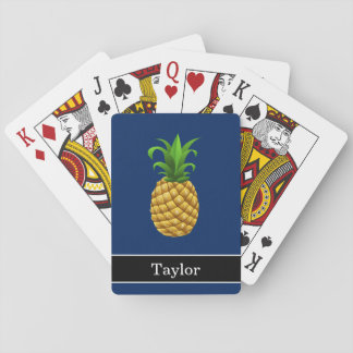 Pineapple on Dark Blue with Name Playing Cards