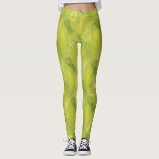 Pineapple Outline Pattern on Green Leggings