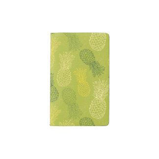 Pineapple Outline Pattern on Green Pocket Moleskine Notebook