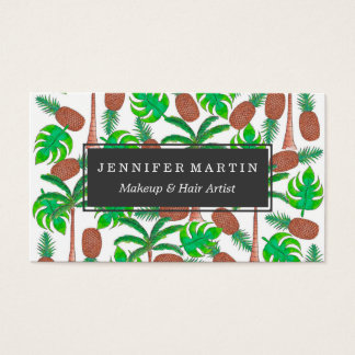 Pineapple Palm Trees and Tropical Summer Leaves Business Card