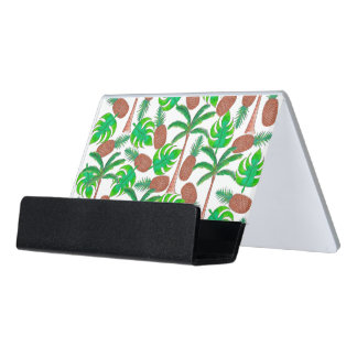 Pineapple Palm Trees and Tropical Summer Leaves Desk Business Card Holder