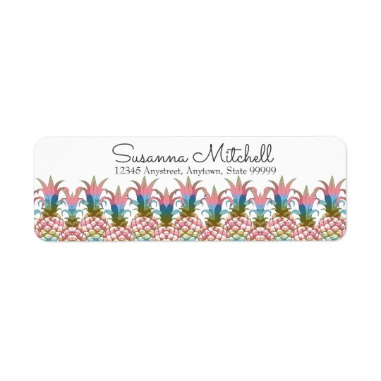 Pineapple Pastel Gradient ID246 Return Address Label
