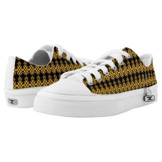 Pineapple Pattern Black & Yellow Printed Shoes