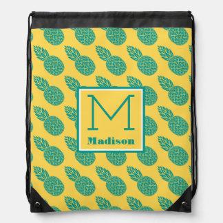 Pineapple Pattern | Monogram Drawstring Bag