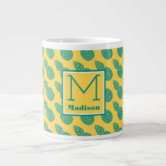 Pineapple Pattern | Monogram Giant Coffee Mug