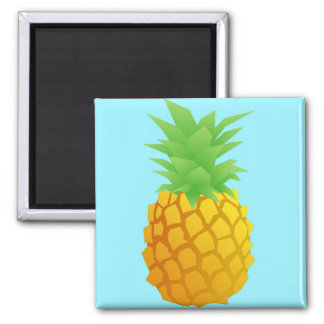Pineapple Pattern on Blue Square Magnet