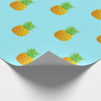 Pineapple Pattern on Blue Wrapping Paper
