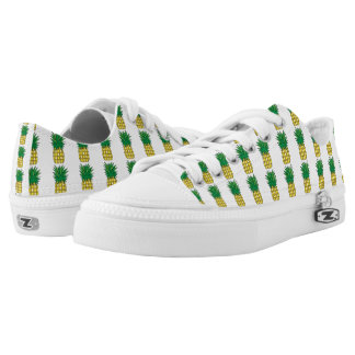 Pineapple Pattern White & Yellow Low Tops
