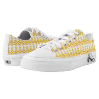 Pineapple Pattern White & Yellow Printed Shoes