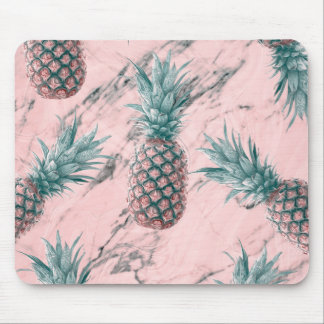 Pineapple & Pink Marble Swirl Modern Tropical Chic Mouse Mat