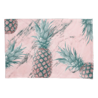 Pineapple & Pink Marble Swirl Modern Tropical Chic Pillowcase
