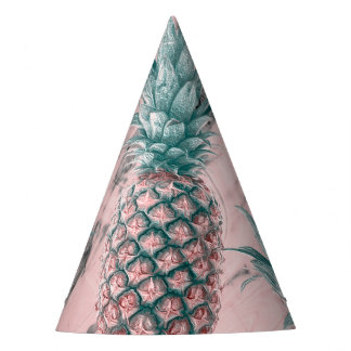 Pineapple Pink Marble Swirl Modern Tropical Party Party Hat