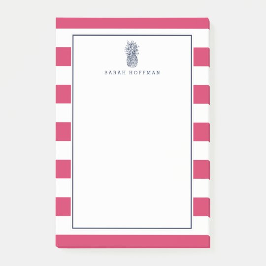 Pineapple Prep | Pink & Navy Personalised Post-it Notes